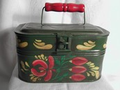 Hand Painted Toleware American Folk Art Tinware Document Box