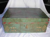 Antique Metal Ware Hand Painted Quail Document Box