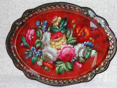 Large Tole Style H P & Artist Signed Metal Ware Tray Caspacoca