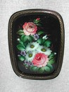 Tole Style Hand Painted Metal Ware Tray Zhostovo Russia