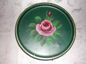 Green Tole Ware Tray with Pink Roses